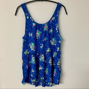 Hollister blue floral tank top with open back